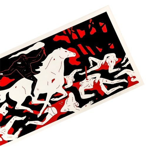 cleon peterson victory screenprint shown from right side