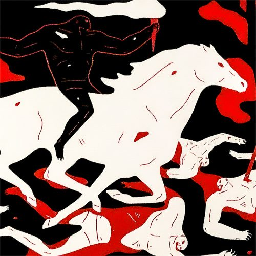 cleon peterson victory screenprint showing middle with man on horse holding a sword and torch