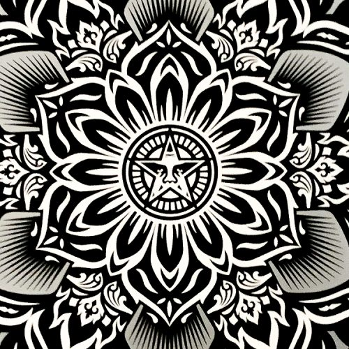 shepard fairey lotus diamond print middle of print detail with obey star