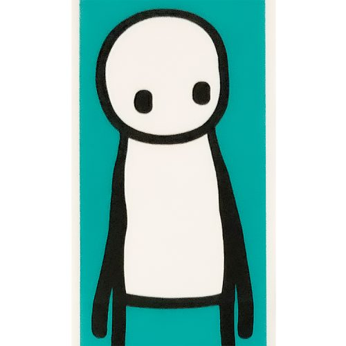 stik standing figure teal print showing middlw detail of stik figure