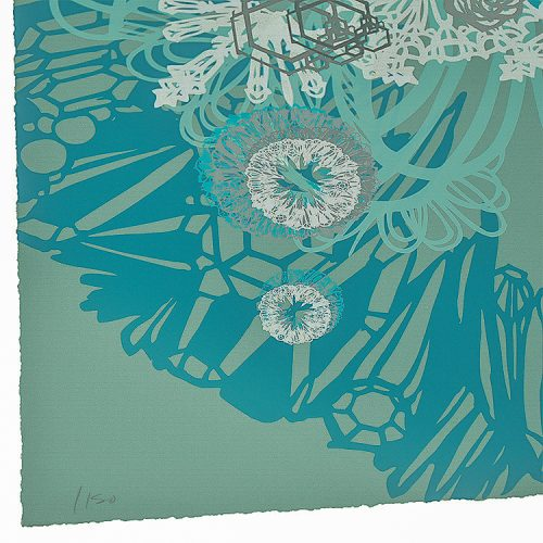 swoon snow blossoms screenprint showing bottom left with edition number