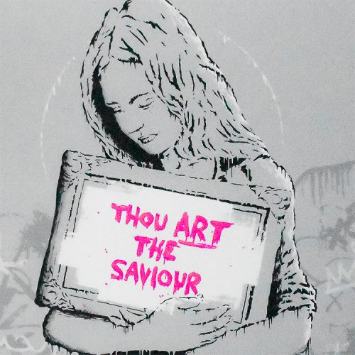 zedsy saviour showing middle with thou art the saviour text in pink letters