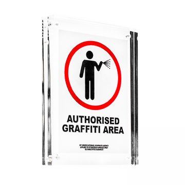 banksy authorised graffiti area sticker in clear frame