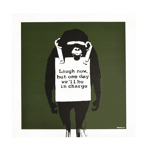banksy keep it real laugh now vinyl album showing laugh now but one day we will be in charge cover side