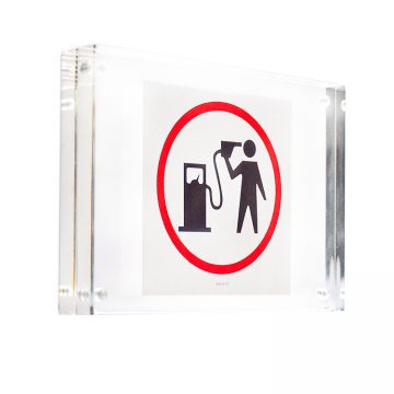 banksy petrol head sticker in clear frame