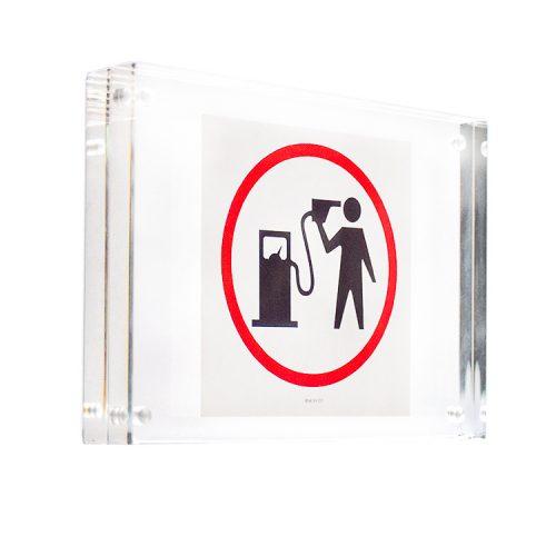 banksy petrol head sticker in clear frame