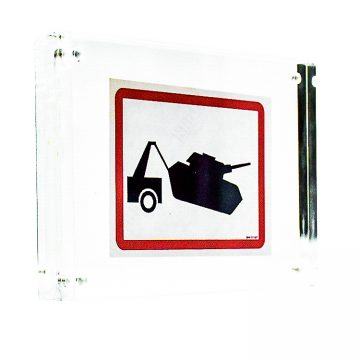 banksy tank towing sticker in clear frame