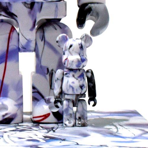 futura bearbrick showing detail of 100% sculpture