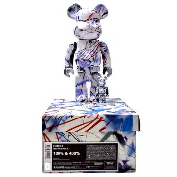 futura bearbrick 400% and 100%.