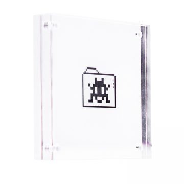 invader file folder sticker in clear frame
