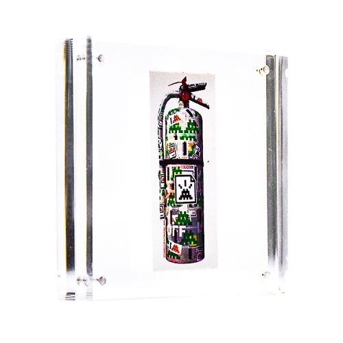 invader fire extinguisher sticker in clear frame