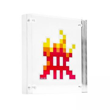 invader fire sticker in clear frame
