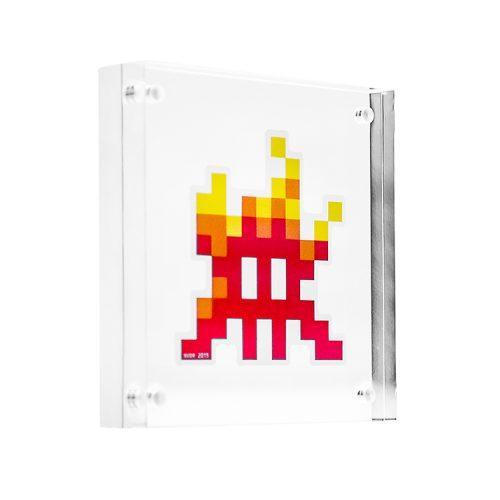invader fire sticker in clear frame