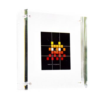invader flash invaders sticker in clear acrylic frame