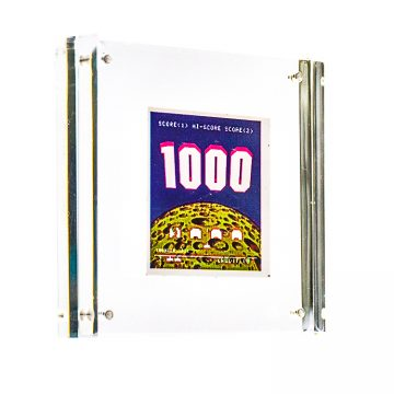 invader high score sticker in clear frame
