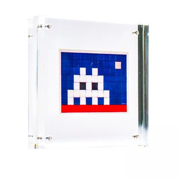 invader home sticker in clear frame