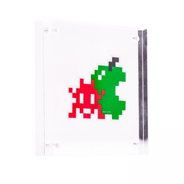 invader red green apple sticker in clear frame