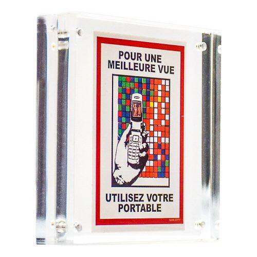 invader qr reader sticker in clear frame