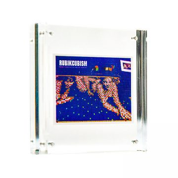 invader rubikcubism sticker in clear frame