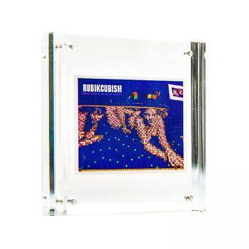 invader rubikcubism sticker in clear frame