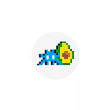 invader space avocado pin in white