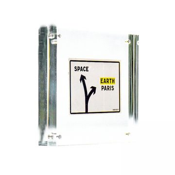 invader space directions sticker in clear frame