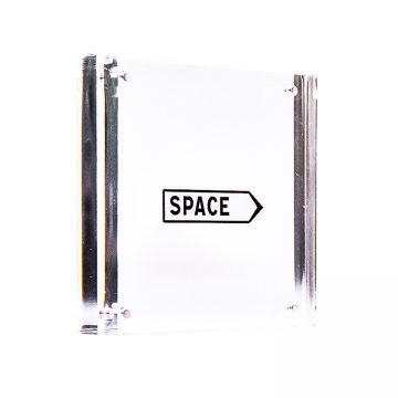 invader space sticker in clear frame