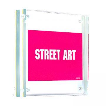 invader street art sticker in clear frame