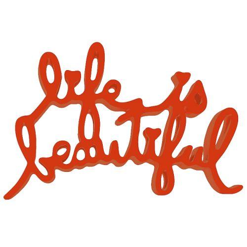 mr brainwash life is beautiful sculpture in orange