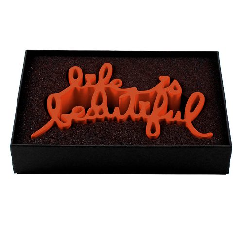 showing mr brainwash life is beautiful sculpture in custom box