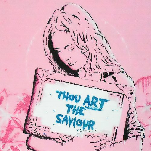 zedsy saviour print artist proof hand embellished showing middle detail of thou art the saviour in blue text