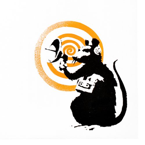 banksy dirty funker radar rat orange vinyl record showing close up of radar rat