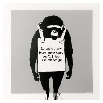 banksy keep it real laugh now silver