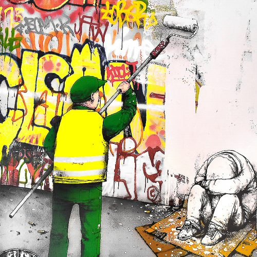 dran ville propre showing close up of middle of print with person painting over graffiti and a person