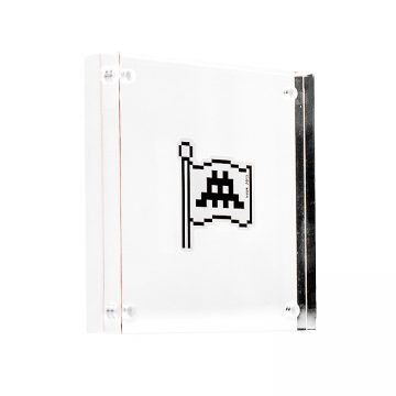 invader flag sticker in clear acrylic block frame