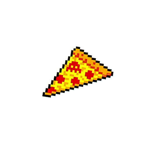 invader pizza sticker