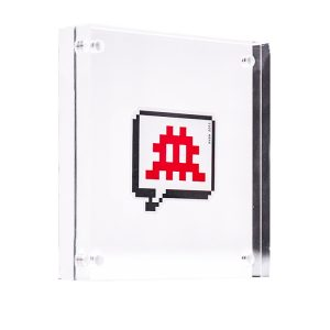 RED INVADER SPEECH BUBBLE STICKER (Framed)
