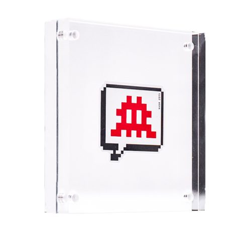 red invader speech bubble sticker in clear acrylic block frame