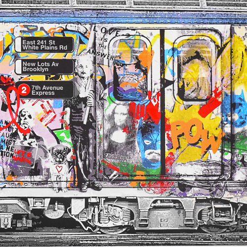 mr brainwash chelsea express close up of subway car