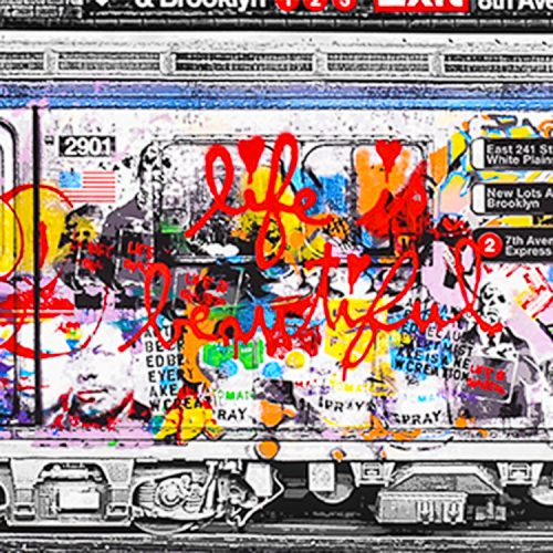 mr brainwash chelsea express close up of life is beautiful in red