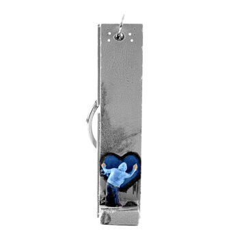 banksy walled off hotel blue heart key fob sculpture