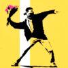 banksy wel love you so love us promo showing flower thrower detail