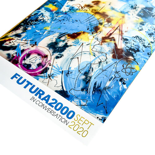futura 2000 sports in space poster showing bottom right with futura 2000 in conversation text