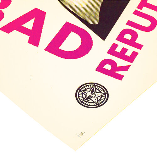 shepard fairey bad reputaion showing bottom left with edition number and obey stamp