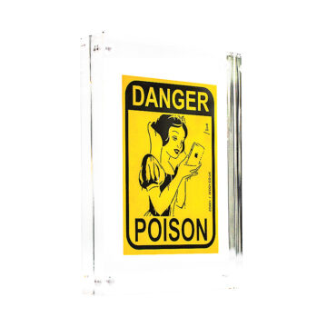 zedsy poison apple sticker in clear block frame