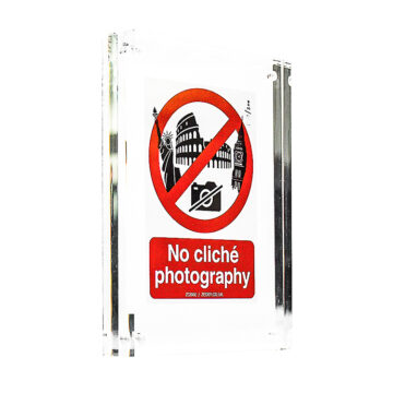 no cliche phottography sticker in clear block frame