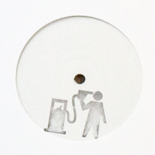 banksy blur crazy beat promo hand stamped vinyl record showing close up of petrolhead stamp