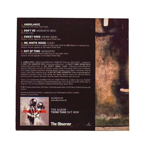 banksy blur the observer cd showing back cover with credits and banksy image