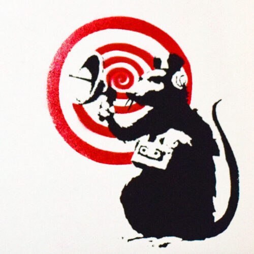 close up detail of rat from banksy dirty funker radar rat white cover