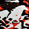 cleon peterson victory red print showing middle with man on horse